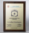 Nagroda CERTYFIKAT DEWELOPERA