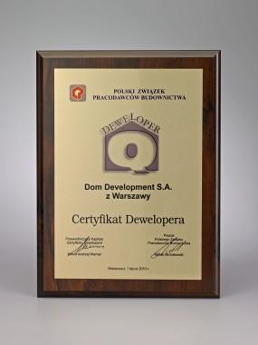 Nagroda Dom Development z Certyfikatem Dewelopera
