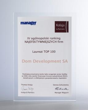 Nagroda  TOP 100  NAJEFEKTYWNIEJSZYCH  FIRM w 2006 roku.