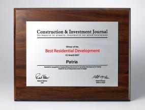 Nagroda BEST RESIDENTIAL DEVELOPMENT 2007 - PATRIA