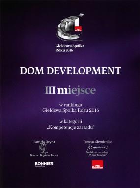 Nagroda GIEŁDOWA SPÓŁKA ROKU (III miejsce) - 2016