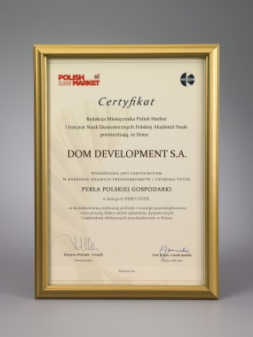 Nagroda Dom Development uhonorowany Perłą Polskiej Gospodark